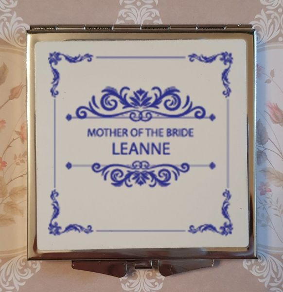 Personalised Wedding Compact Mirror - Design 11